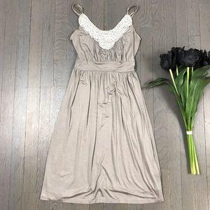 soprano Pearl Beaded Tan Strappy A-Line Dress